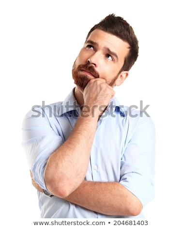 Portrait of a pensive businessman looking up isolated on a white background Stock photo © deandrobot