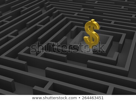 gold dollar sign at center of dark maze stock photo © 3mc