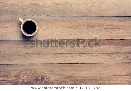 coffee cup black wooden board brown pines white stock photo © fotoaloja