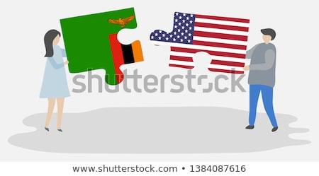 США Замбия флагами головоломки вектора изображение Сток-фото © Istanbul2009