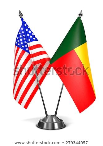 США Бенин миниатюрный флагами изолированный белый Сток-фото © tashatuvango