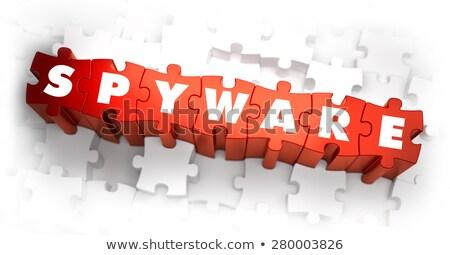 Spyware szöveg piros fehér 3d render internet Stock fotó © tashatuvango