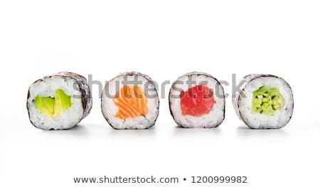 寿司 · ロール · アップ · 箸 · 孤立した · 白 - ストックフォト © zhekos