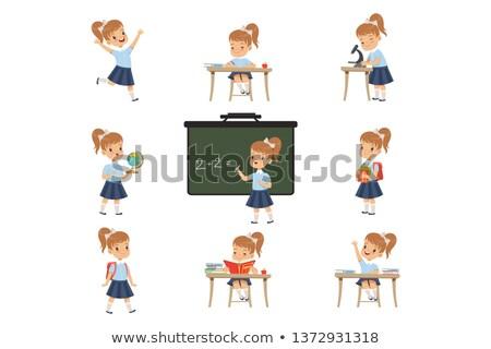 kicsi · okos · iskolás · lány · portré · aranyos · kislány - stock fotó © Anna_Om