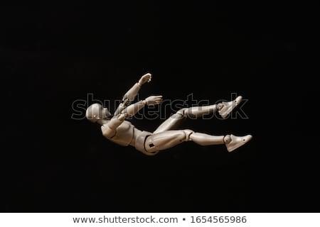 ストックフォト: 下がり · 3次元の男 · シルエット · 孤立した · 白 · 漫画