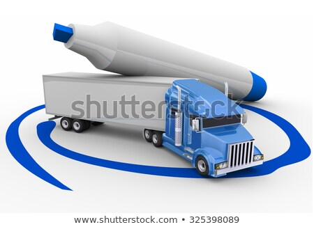 Blue Semi Trailer Truck Circled Marker Best Carrier Transportati Stock photo © iqoncept