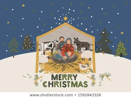 Christmas baby jesus groet ansichtkaarten Stockfoto © marimorena