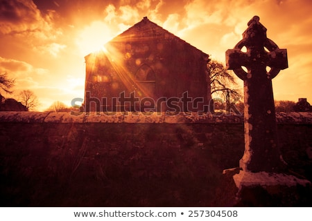 celtic cross and church ruins Stock photo © morrbyte