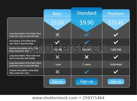 Light pricing table with 3 options and one recommended. Blue bookmarks and buttons Stock photo © liliwhite