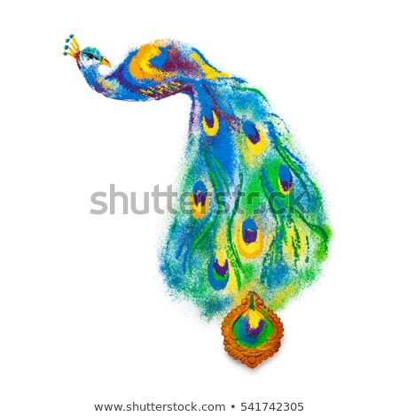 Colorful Peacock bird rangoli made of handmade soil colors. Stock photo © ziprashantzi