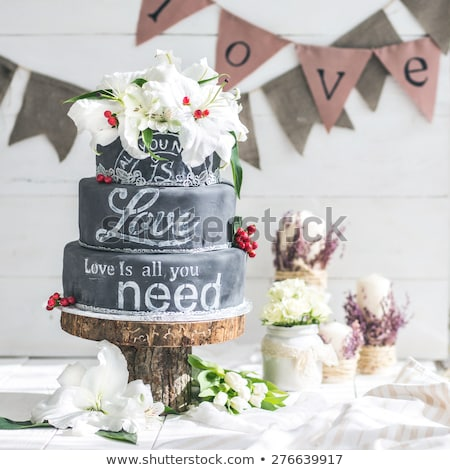 Piros fehér esküvői torta rózsák étel esküvő Stock fotó © esatphotography