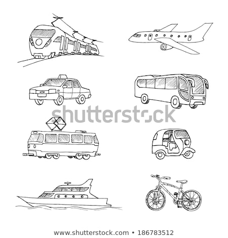 villamos · kézzel · rajzolt · skicc · firka · ikon · tömegközlekedés - stock fotó © netkov1