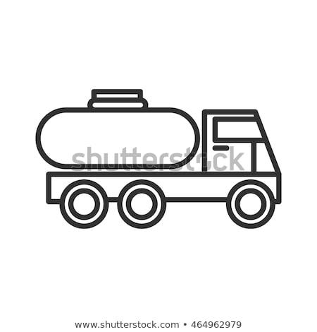 combustível · caminhão · linha · ícone · vetor · isolado - foto stock © rastudio