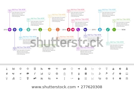 Modern flat timeline with exact date and milestones with icons and colors of rainbow Stock photo © liliwhite