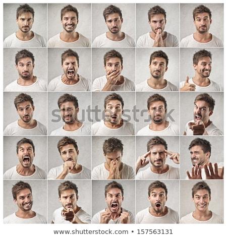 Fiatalember portré stúdió fotó készít vicces arc Stock fotó © filipw