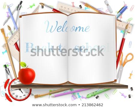 új · iskola · évszak · sablon · irodaszerek · meghívó - stock fotó © beholdereye