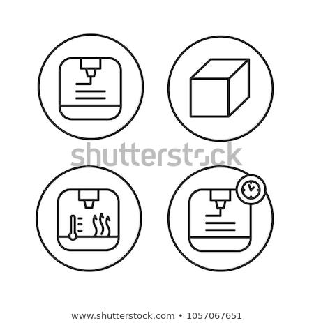 Fa nyomtatás vonal ikon sarkok háló Stock fotó © RAStudio