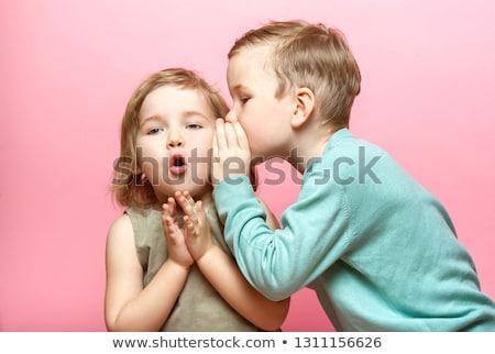 Fiú suttog lány illusztráció gyerekek gyermek Stock fotó © bluering