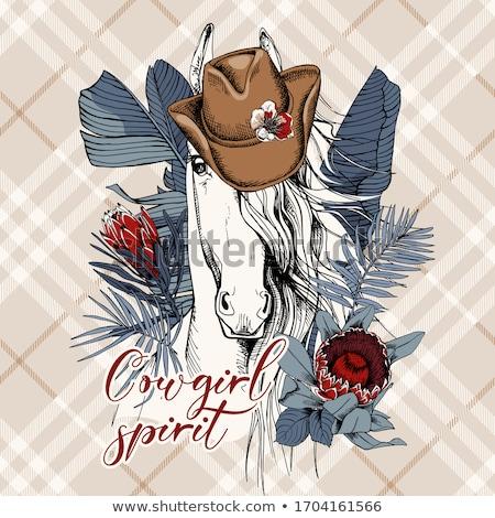 Foto stock: Cavalo · estilo · retro · mulher · jovem · tarde · trilha · grama