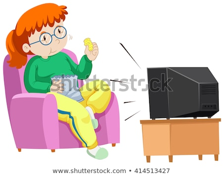 Fat woman eating chips while watching TV Stock photo © bluering