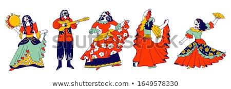 Flamenco vestir flor moda verão vintage Foto stock © carodi