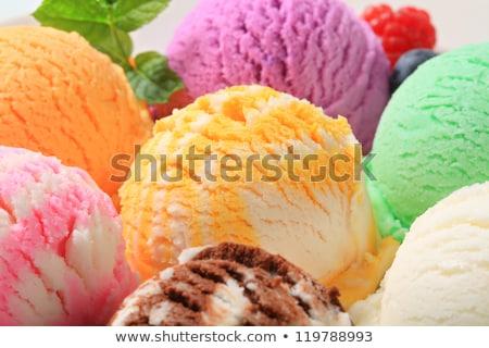 Sárgabarack fagylalt merítőkanál étel gyümölcs narancs Stock fotó © Digifoodstock