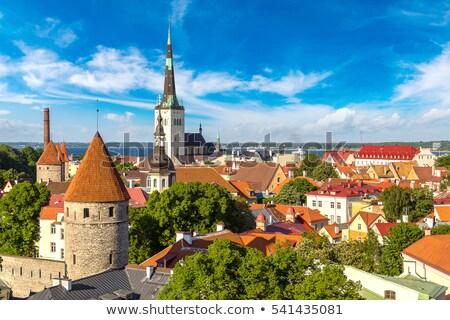 Scenic summer aerial panorama of the Old Town in Tallinn, Estoni Stock photo © meinzahn