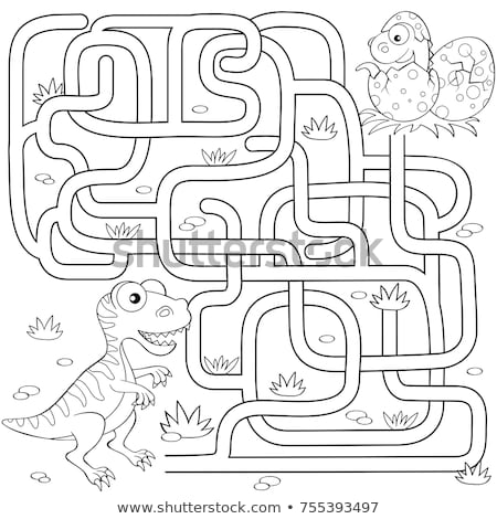 Kids puzzle with a green cartoon dinosaur Stock photo © adrian_n