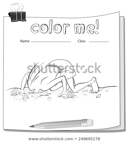 A color me worksheet with a boy and a pencil Stock photo © bluering