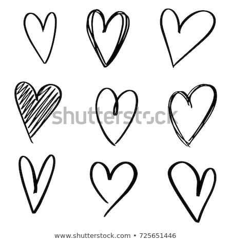 вектора рисованной сердце иллюстрация черный работу Сток-фото © TRIKONA