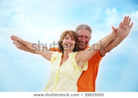Retrato, de, feliz, hombre mayor, brazos extendidos Foto stock © HannaMonika