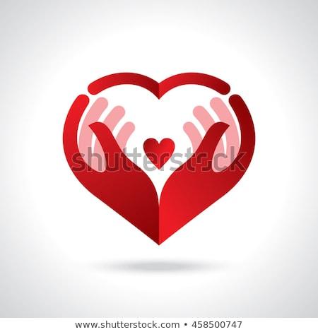 Rood handen liefde gelukkig hart woord Stockfoto © Oakozhan