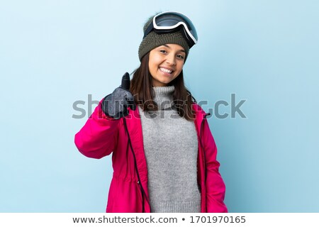 Mosolyog félvér lány áll hódeszka hegyek Stock fotó © dash