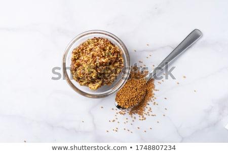 kaba · hardal · çanak · tahıl · beyaz · arka · plan · organik - stok fotoğraf © digifoodstock