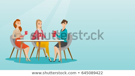 Group of women drinking hot and alcoholic drinks. Stock photo © RAStudio