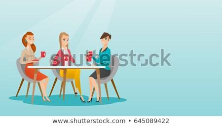 女性 · 飲料 · コーヒー · 茶 · 座って - ストックフォト © rastudio