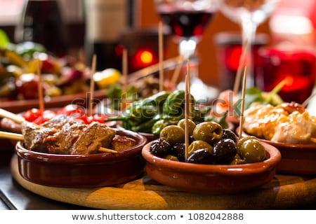 Tapas voedsel tabel ontbijt sandwich tomaat Stockfoto © racoolstudio