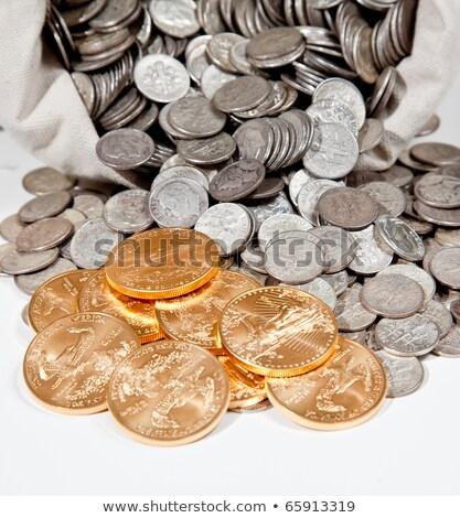 Worek srebrny złote monety starych Zdjęcia stock © backyardproductions