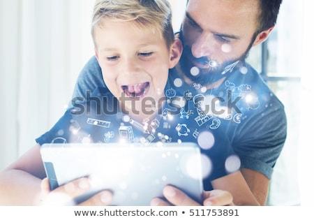 Emocji komórkowych tabletka ikona wektora zestaw Zdjęcia stock © ahasoft