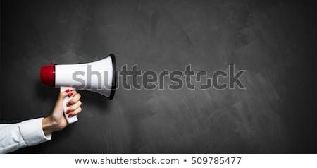 blackboard hand bullhorn blackboard stock photo © limbi007