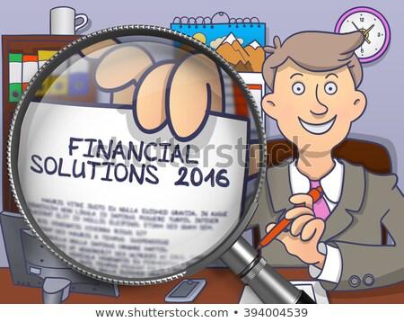 Financiële oplossingen 2016 vergrootglas doodle stijl Stockfoto © tashatuvango