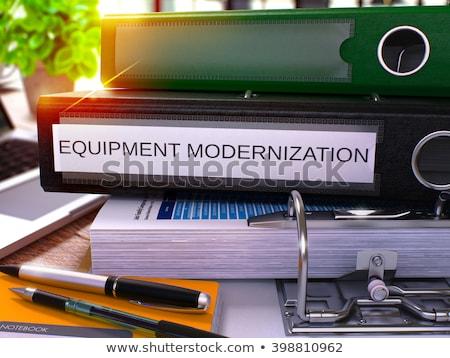 Czarny biuro folderze napis wyposażenie pulpit Zdjęcia stock © tashatuvango
