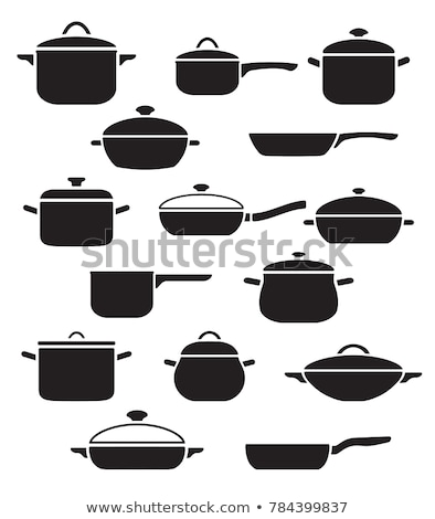 Frying pan with lid. pan is closed with cover. Tableware vector  Stock photo © popaukropa