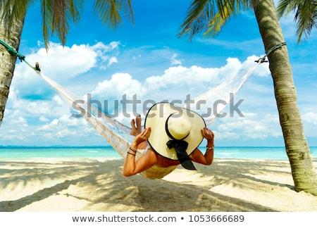 Női szépség pihen függőágy nő portré Stock fotó © IS2