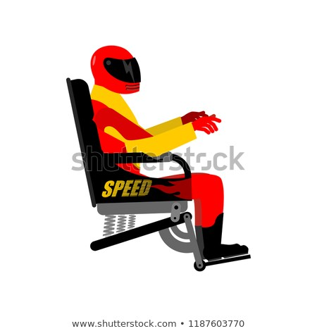 Racer in chair isolated. Rider in helmet and equipment Stock photo © popaukropa