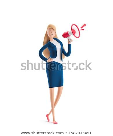 3d business woman talking on a megaphone stock photo © texelart