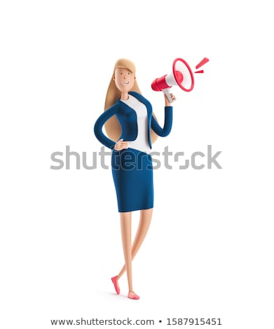 Stock photo: 3D Business woman talking on a megaphone