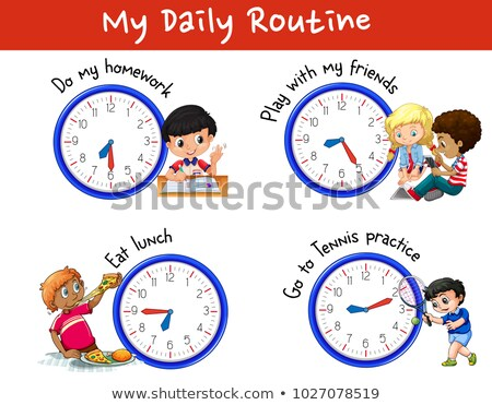 Foto stock: Diariamente · muitos · crianças · relógios · ilustração · menina