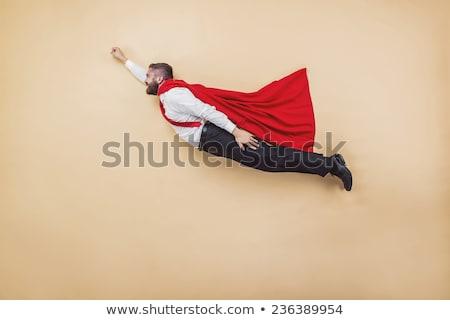 Szuperhős visel piros köpeny fehér üzlet Stock fotó © Elnur