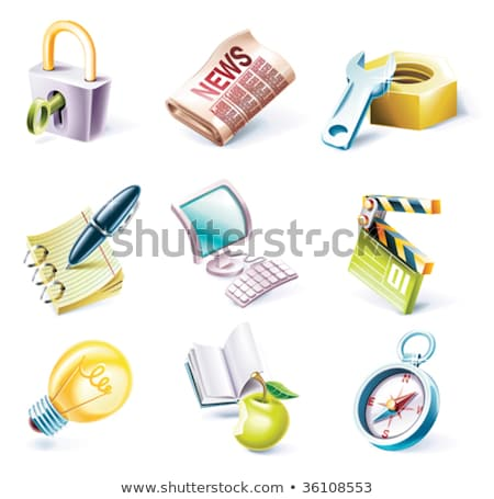 Computer monitor with a light bulb vector cartoon. Stock photo © RAStudio